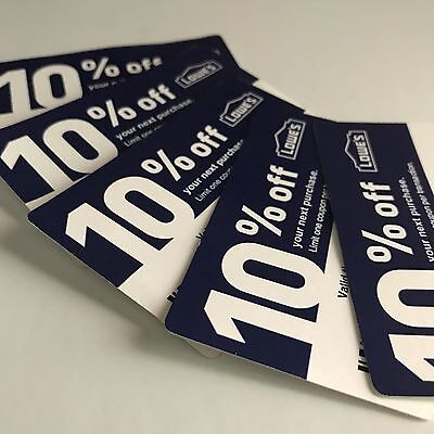 FIVE Lowes 10% OFF-Coupons - Stock Cards - Expires 8/31 First Class Shipping
