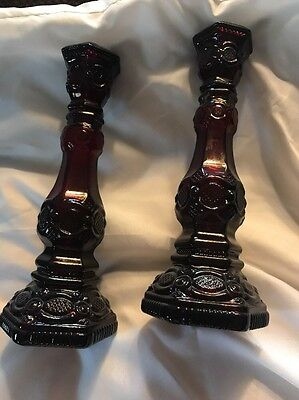 Ruby Red Candle Holders. 8 1/2 Tall. Avon
