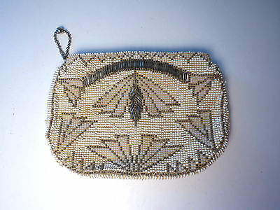 Vintage White Beaded Purse Evening Wallet Bag Clutch Silver Art Deco Glass Czech