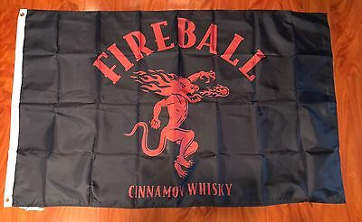 Fireball Whisky Flag 3'x5' Feet Bar Man Cave Decor Cinnamon Black Red
