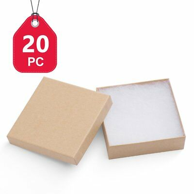 MESHA Jewelry Boxes 3.5x3.5x1 Inches Paper Gift Boxes Natural Cardboard Bracelet