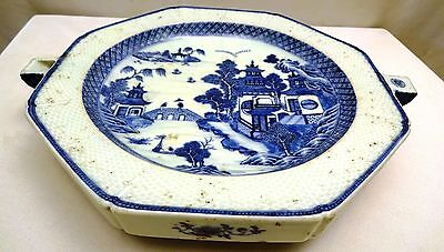 Antique Chinese Hot Water Plate Blue & White River Bridge Landscape Willow Pater