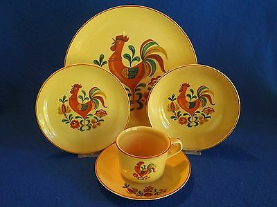 """Vintage TAYLOR SMITH TAYLOR """"Reveille Rooster"""" 5 Pc Place Setting"""