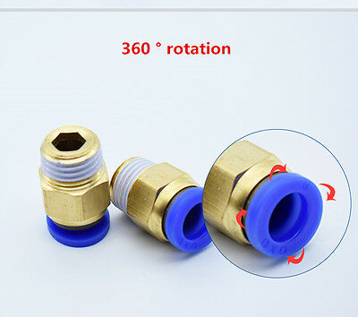 10pcs Pneumatic Straight Push In to Male Stud BSPT Fittings Connectors Air Water