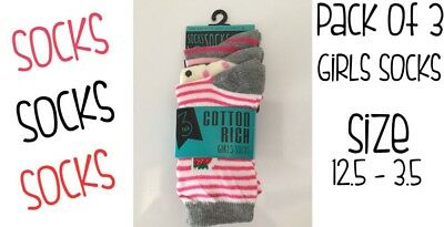 Girls Socks Pack Of 3 Cotton Rich Size Uk 12.5-3.5 Brand New Free Delivery