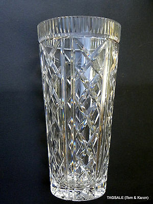 """CUT GLASS CRYSTAL VASE ~ LARGE - 12"""" Tall X 6"""" Top X 4"""" Base ~ Gorgeous"""