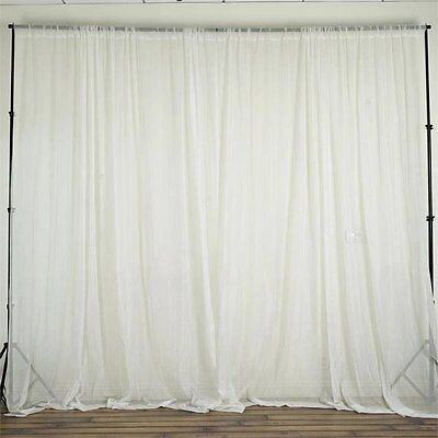 Ivory 10 x 10 ft Voile BACKDROP CURTAINS Drapes Panels Home Party Decorations
