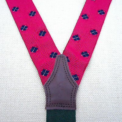 Polo Ralph Lauren SUSPENDERS BRACES Red with Black Argyle Design & Leather Trim
