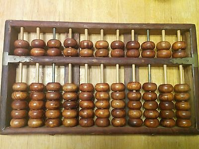 Antique Chinese LOTUS FLOWER BRAND Rosewood Abacus 11 rods 77 Beads
