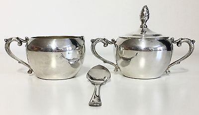 Antique Vintage Silver Plated Sugar Bowl, Lidded Creamer, Spoon Lovely Engraving