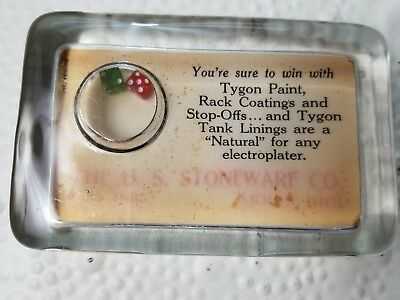 Vintage Glass Advertising Paperweight Dice  Mirror Tygon Paint US Stoneware Co j