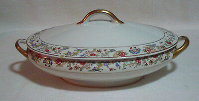 """Oriental Syracuse China Gold Trim Oval Covered Vegetable Serving Dish Bowl 12"""""""