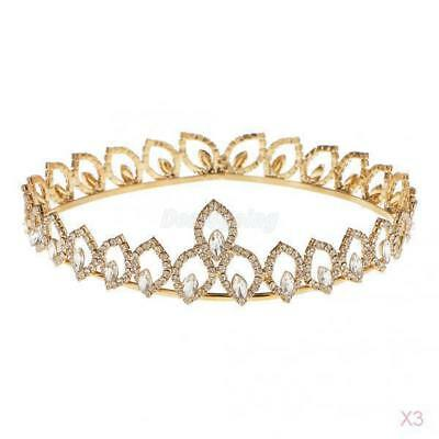 3x Bridal Wedding Crystal Tiara Crown Headdress Headband Hair Accessories