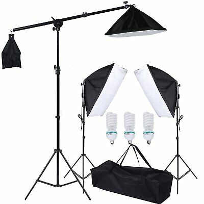 3x Fotostudio Studioleuchte Set Softbox Studiolampe Stativ Galgenstativ Photo #l
