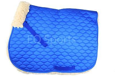 FAST P&P Quality Full Fleece Faux Sheepskin Saddlecloth Full Blue