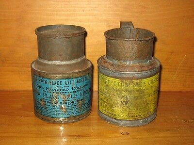 lot of 2 Vintage Axle Grease Tin Can Snowflake & Standard Oil Perfection