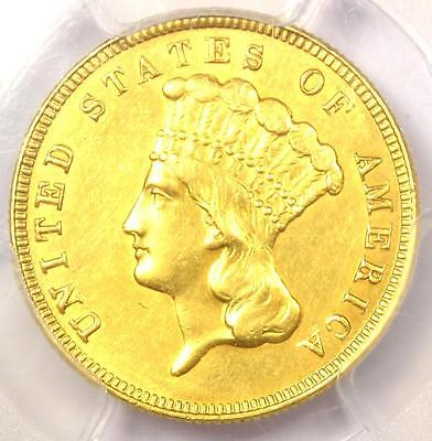 1888 Three Dollar Indian Gold Coin $3 - Certified PCGS AU Details - Rare Date!