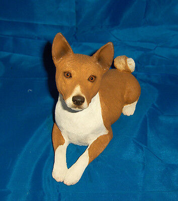 Basenji Figurine Sandicast - Large Red & White Posed in Down position