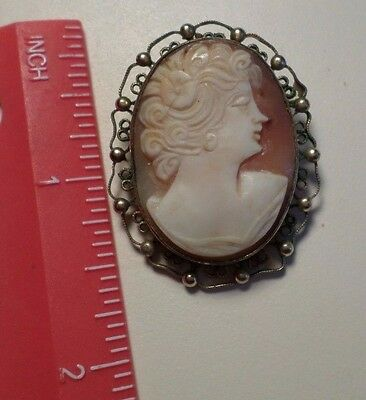 Vintage SORRENTO ITALY CAMEO Pin Brooch or Pendant gold filled
