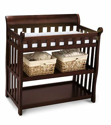Delta Children Eclipse Nursery Diaper Changing Table, Black Cherry - NEW