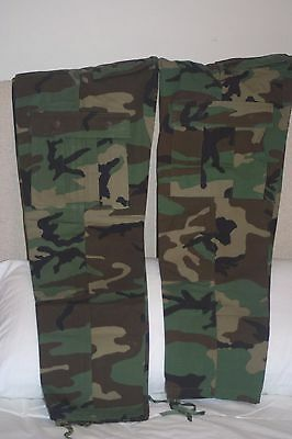 2 Pair Military Trousers Woodland Camo Combat Hot Weather Very Good Condition