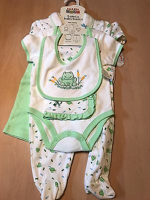 New NWT Baby Boy Girl 3 6 Months Blankie Outfit Bib Onsie Top Pants Frog Cotton