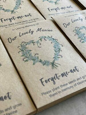 10 Personalised Forget-Me-Not Seeds - Gifts/Favours - Funeral/Memorial - heart