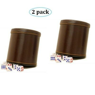 RERIVER PU Leather Dice Cup Set with 6 Poker Dices (Brown, Pack of 2)
