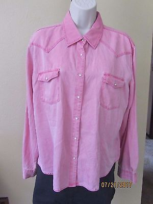 Vintage Ryan Michael Dusty Pink Rose Pearl Snaps Rodeo Queen Shirt Top Size L
