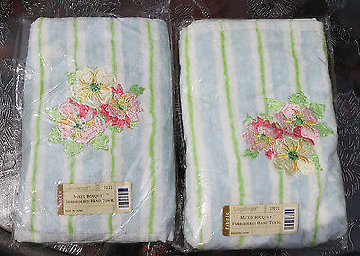 Longaberger Towel (Hand)  Set of 2 -  Embroidered - Mixed Bouquet - NEW