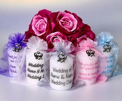 Wedding Favour Personalised Candle Dove Heart Anniversary Engagement Many Colour