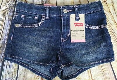 500baead Levis Girls Shorty Short Blue Wonder Size 6 Reg Adjustable Waist Stretch  Denim