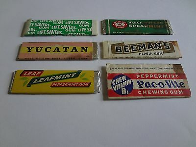Lot Of 6 Pieces Of Different Old Chewing Gum~Beach Nut~Beemans, Etc.