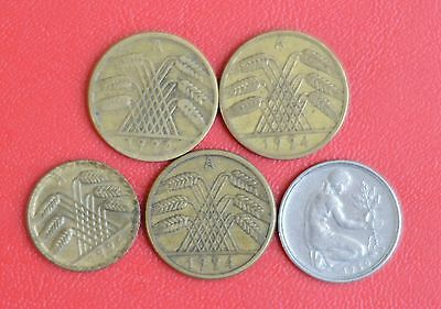 Germany Coins, Lot of 5 Coins  (5)