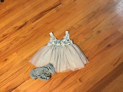 Girls babyGap dress size 0-3 months green sleeveless with bows and lace