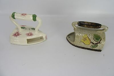 Mid Century Lot of 2 Wall Pocket Hanging Sad Irons Hand Painted