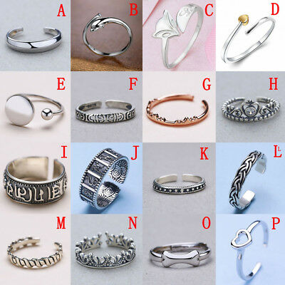 Fashion Solid Sterling Silver 925 Adjustable Open Band Thumb Midi Ring Lady Gift