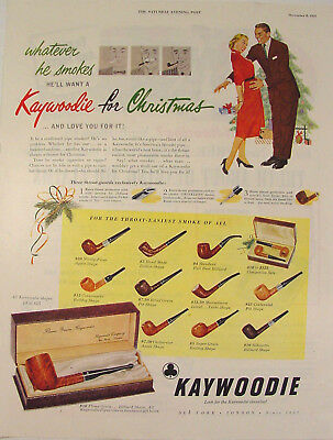 1951 Kaywoodie Pipes Christmas Print Ad 12 Pipes/sets & Prices