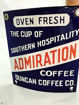 Vintage Admiration Coffee  Duncan Coffee Co Curved Porcelain Sign