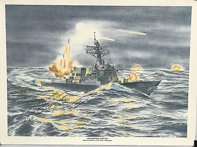 USS Sampson DDG-102 Print Signed By First Commanding Officer