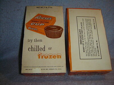 "Vintage Candy Box The Original REESES PEANUT BUTTER CUP ""Chilled Or Frozen"""