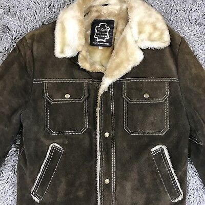 THE RANCHER Brown Leather Sherpa Coat Jacket Size 42