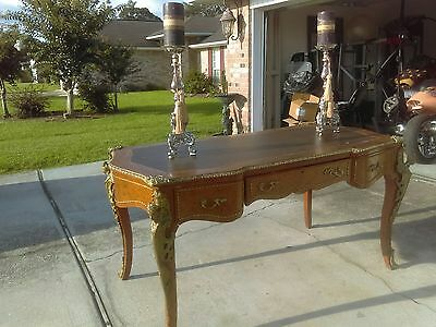 French Ormolu Bronze Leather Top Desk