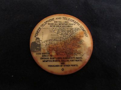 Rare! Pioneer Telephone And Telegraph Pocket Mirror! Tuff!  See Pics!