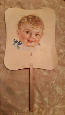 Vintage Charlotte Becker Advertising Fan With Cute Baby 1930's