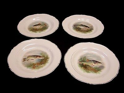 """4 Antique Woods Ivory Ware 9"""" plates with fish design - England"""
