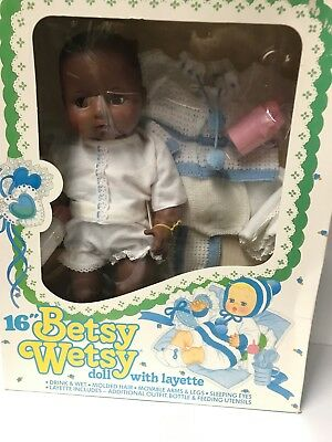 Vintage  Black 1980s Ideal-16 inch-Betsy-Wetsy-Doll