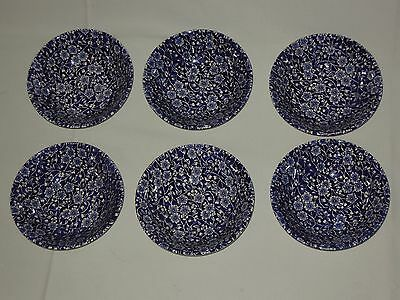 """6 Queen's Calico Blue Chintz 6"""" Soup/Cereal Bowls Malaysia"""