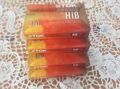 Tdk Tape Cassette New Sealed Tapes 120 Hi8 Blank Lot of 4 For All Hi8 Camcorders