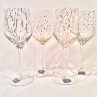 Mikasa Cheers Party  Set Of 4 Gold & Silver Wine Glasses